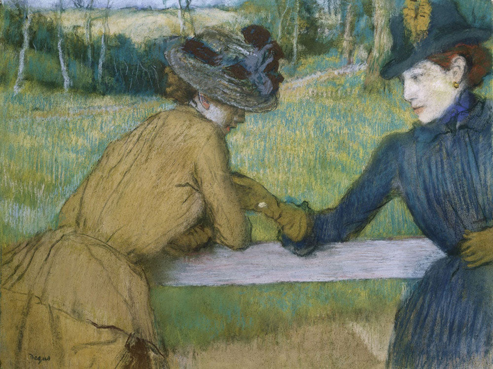 Two Women Leaning On A Fence Rail By Edgar Degas