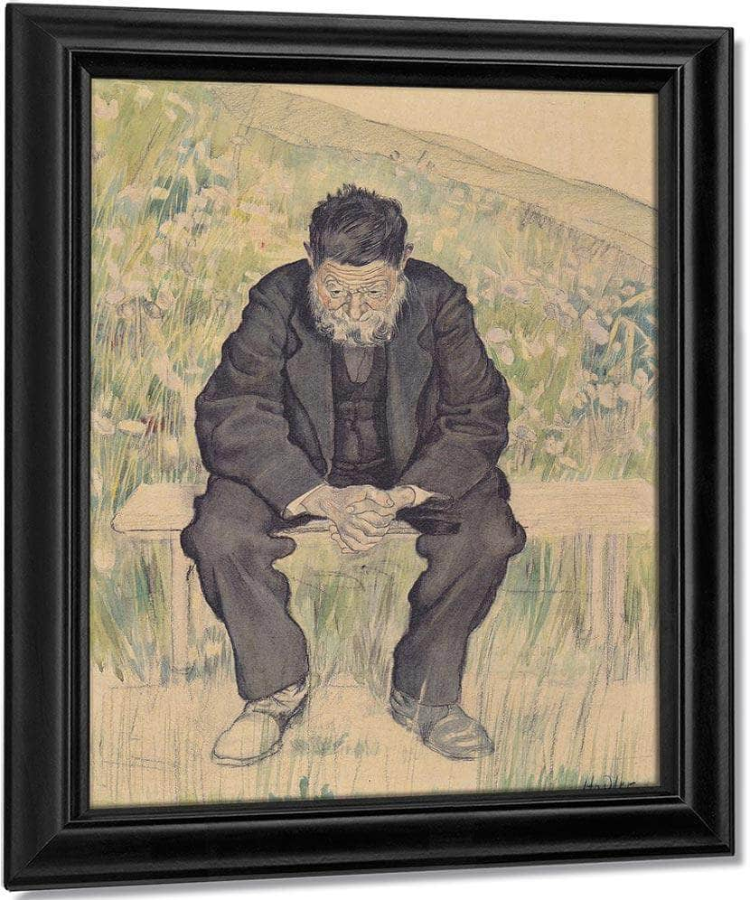 Unemployed 1891 Realism Charcoal Pastel Pencil Watercolor 61X47Cm By Ferdinand Hodler