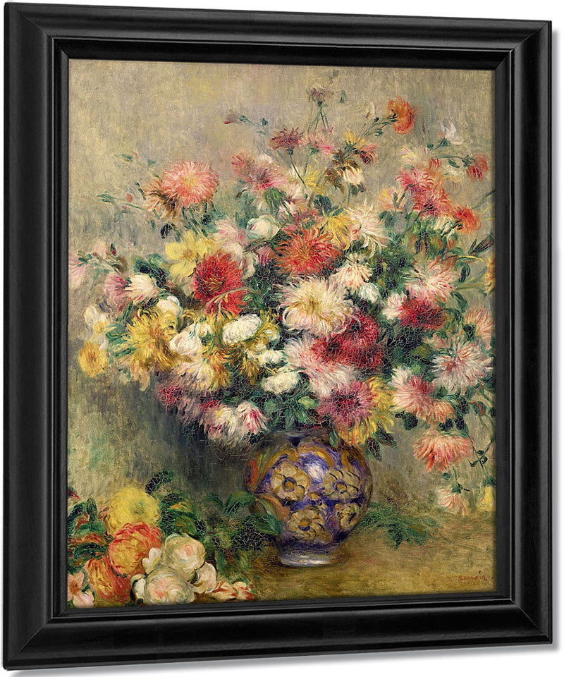 Vase Of Chrysanthemums By Pierre Auguste Renoir