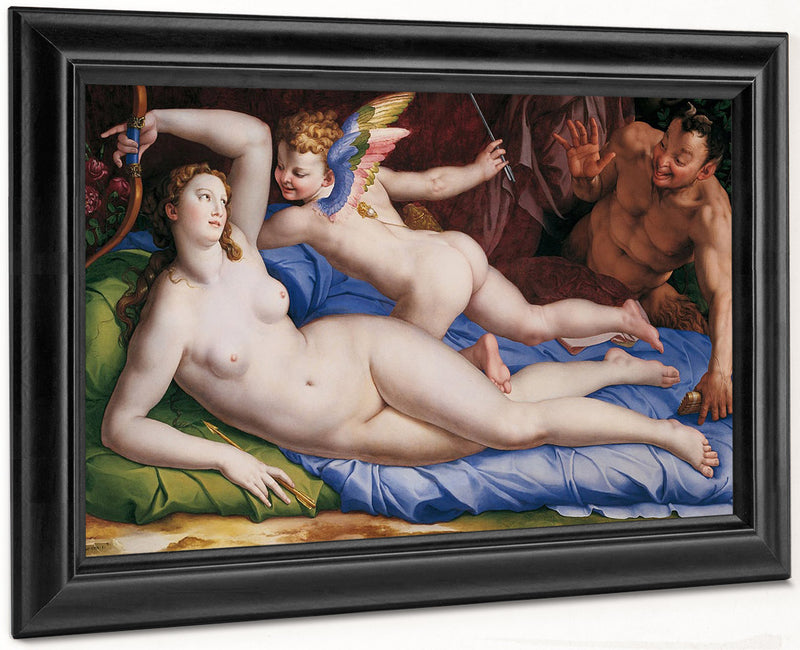 Venus Cupid And Satyr 1553 1554 Oil On Panel 135X231Cm Rome Galleria Colonna By Agnolo Bronzino