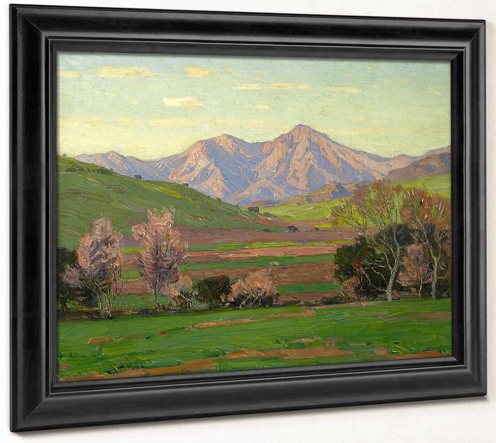 Verdant Landscape With Mountains Beyond By William Wendt
