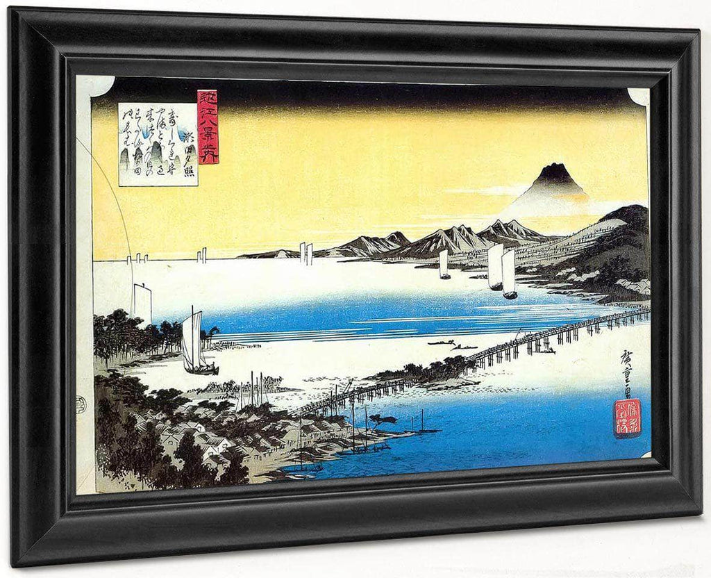View Of A Long Bridge Across A Lake By Hiroshige