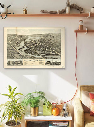 View Of Collinsville Conn Vintage Map