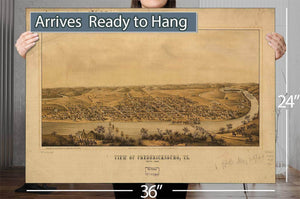 View Of Fredericksburg Va Nov 1862 Vintage Map