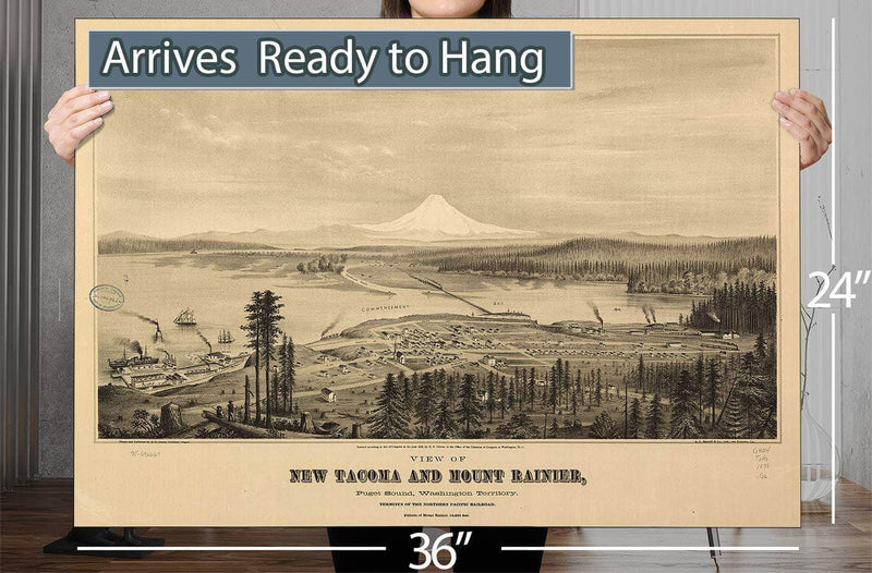 View Of New Tacoma And Mount Rainier Puget Sound Washington Territory Vintage Map