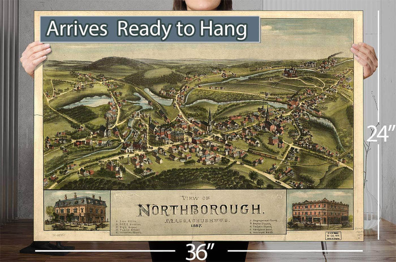 View Of Northborough Massachusetts 1887 Vintage Map