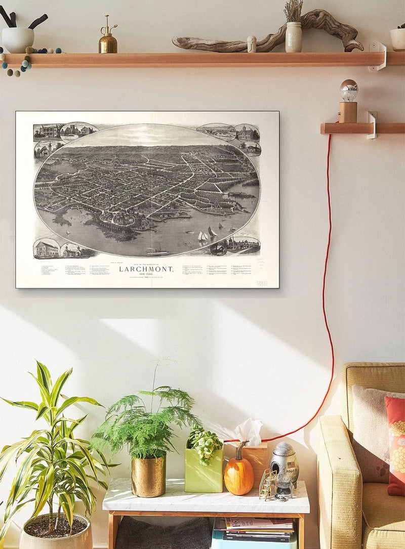 View Of The Borough Of Larchmont New York Vintage Map