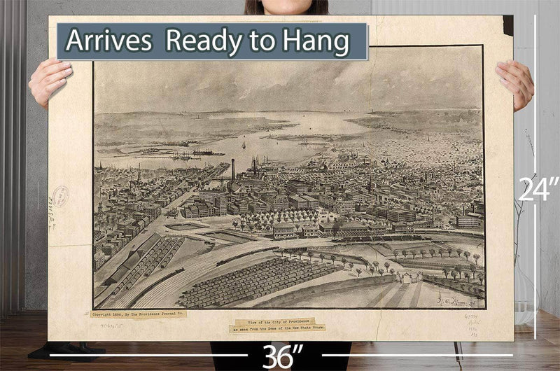 View Of The City Of Providence As Seen From The Dome Of The New State House Vintage Map