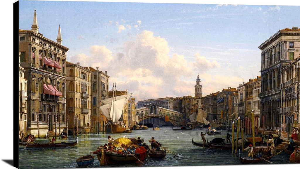View Of The Grand Canal Rial To Bridge Venice Painting Friedrich Nerly Canvas Art