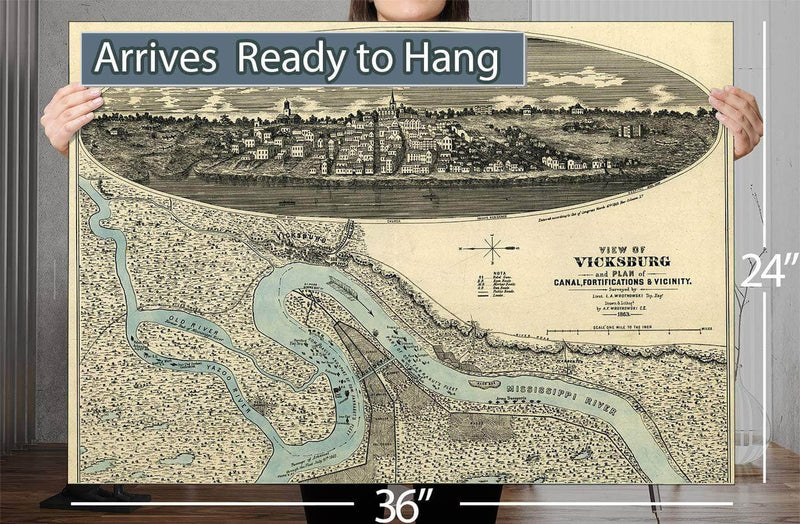 View Of Vicksburg And Plan Of The Canal Fortifications & Vicinity Vintage Map