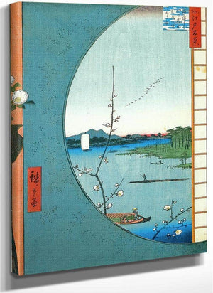 View Through A Circular Window By Hiroshige