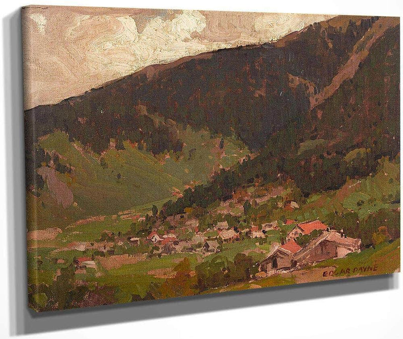 Village At The Base Of The Mountain By Edgar Payne