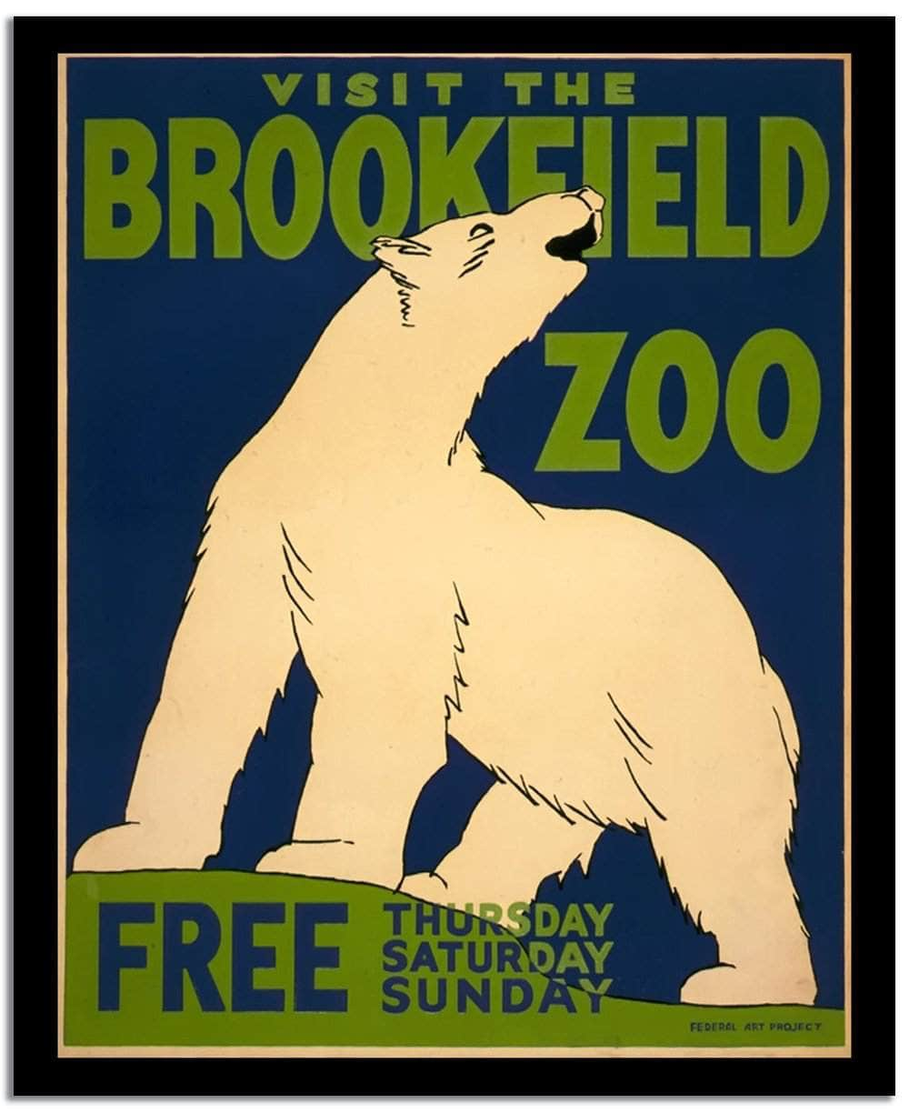 Visit The Brookeield Zoo  Vintage Circus Poster