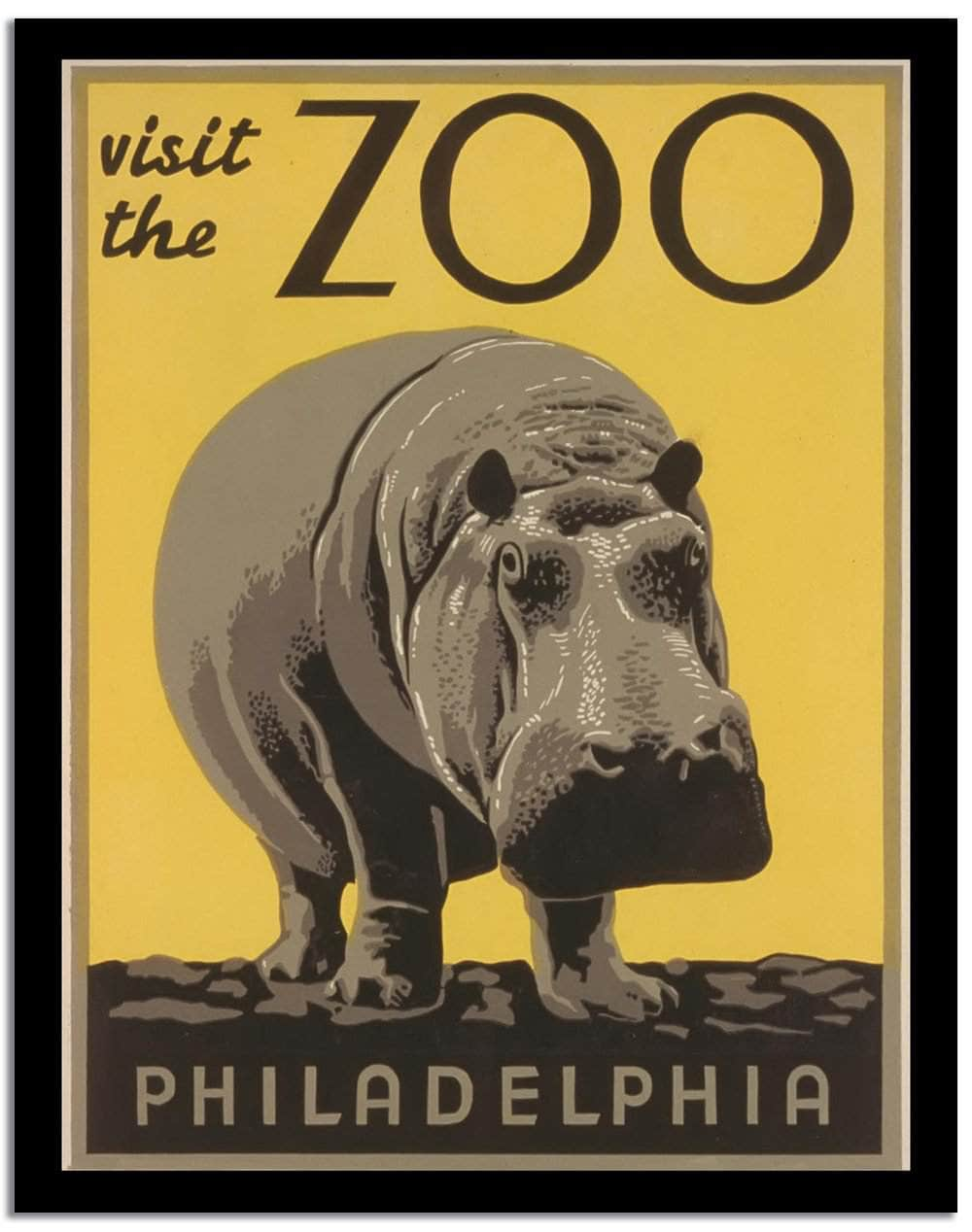 Visit The Zoo  Vintage Poster
