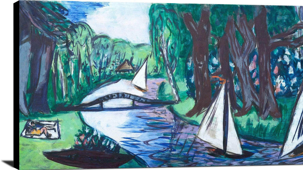 Waldgracht With Sailing Painting Max Beckmann Canvas Art