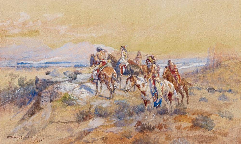 Watching The Iron Horse By Charles Marion Russell