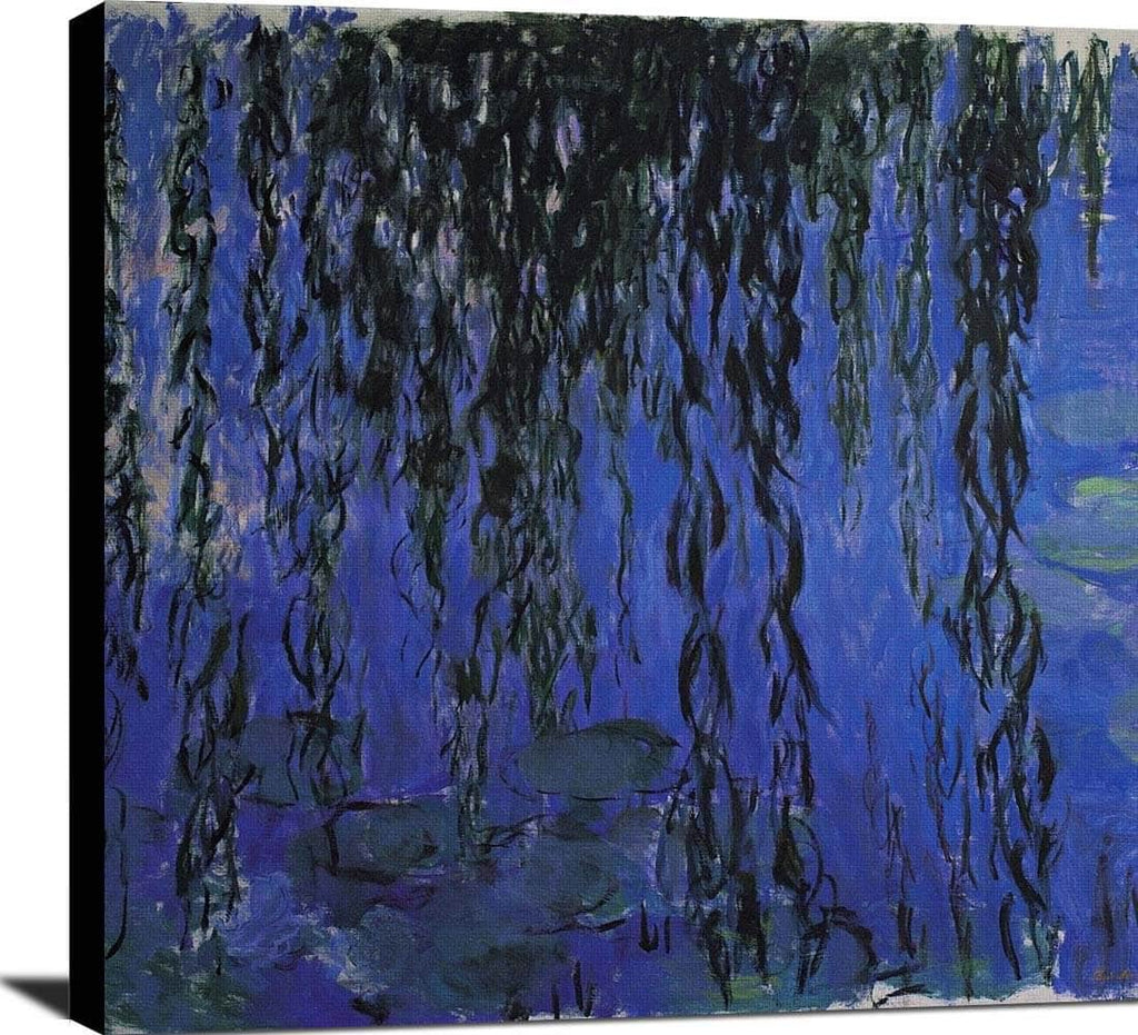 Water Lilies Weeping Willow Branches Painting Claude Monet Canvas Art