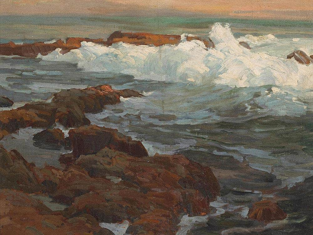 Waves Breaking Along A Rocky Coast By Edgar Payne