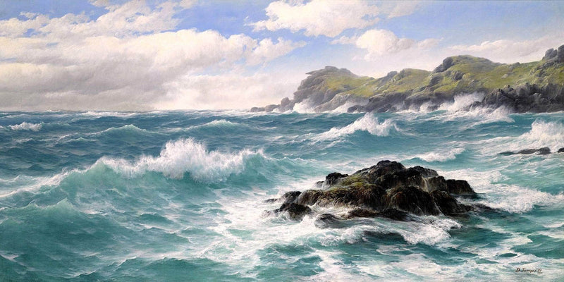 Waves Off The Cornish Coast Painting David James Canvas Art