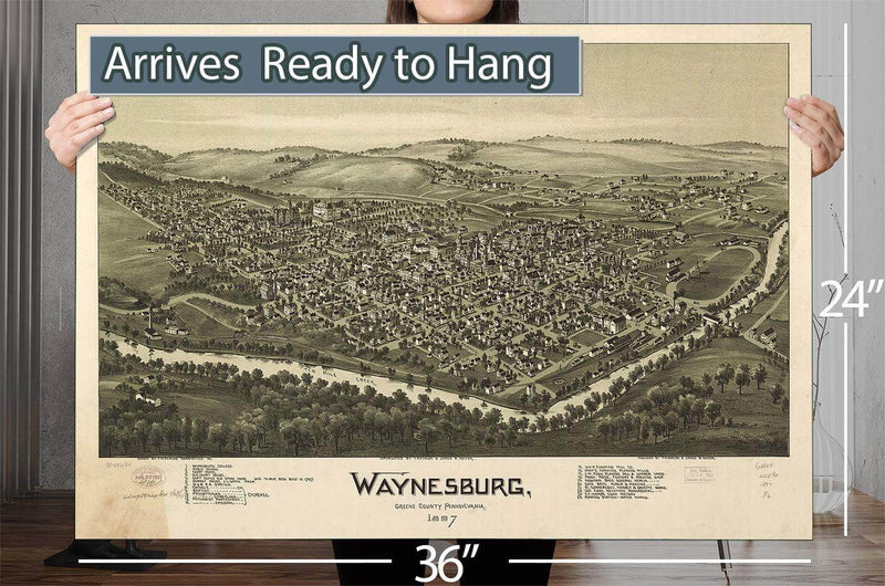 Waynesburg Greene County Pennsylvania 1897 Vintage Map