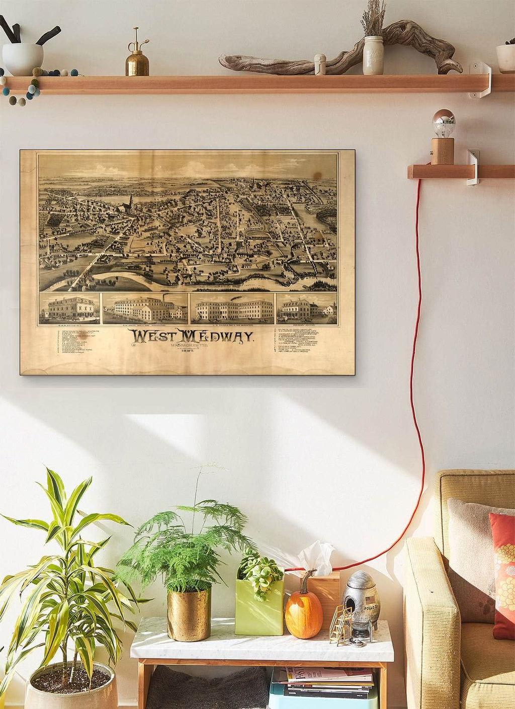 West Medway Massachusetts Vintage Map