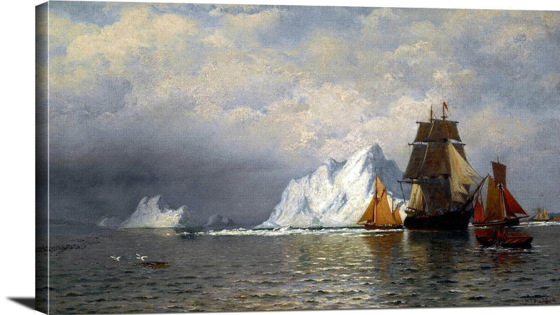 Whaler And Fishing Vessels Near The Coast Of Labrador Painting William Bradford Canvas Art