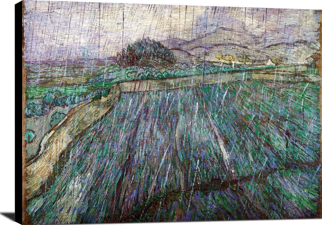 Wheat Field In Rain Painting Vincent Van Gogh Canvas Art