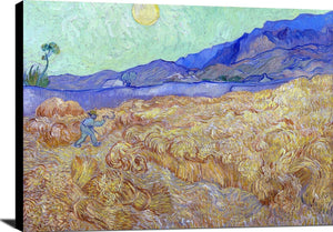Wheatfield With A Reaper Painting Vincent Van Gogh Canvas Art