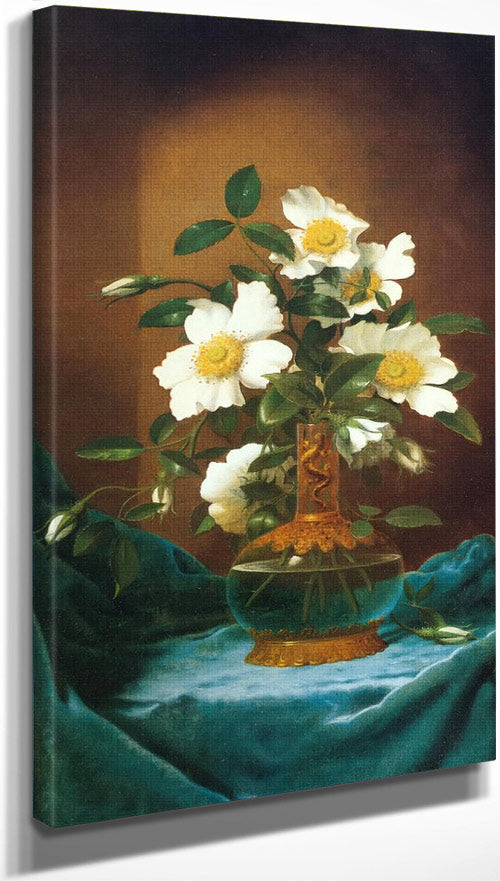 White Cherokee Roses In A Salamander Vase By Martin Johnson Heade