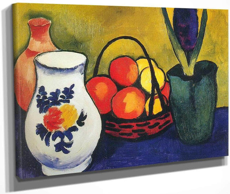 White Pot Flowers And Fruit By August Macke