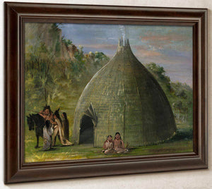 Wichita Lodge, Thatched With Prairie Grass By George Catlin