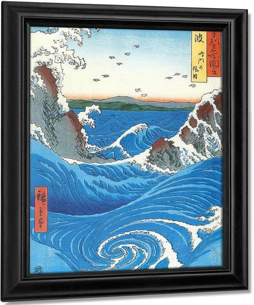 Wild Sea Breaking On The Rocks  By Hiroshige