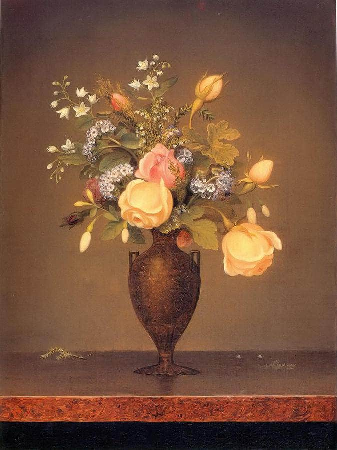 Wildflowers In A Brown Vase By Martin Johnson Heade