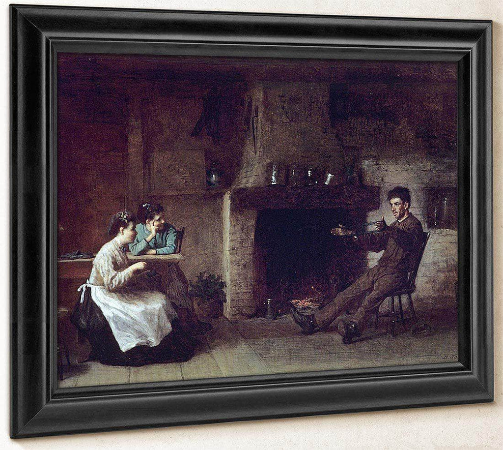 Winding Yarn (Interior Of A Nantucket Kitchen) By Eastman Johnson