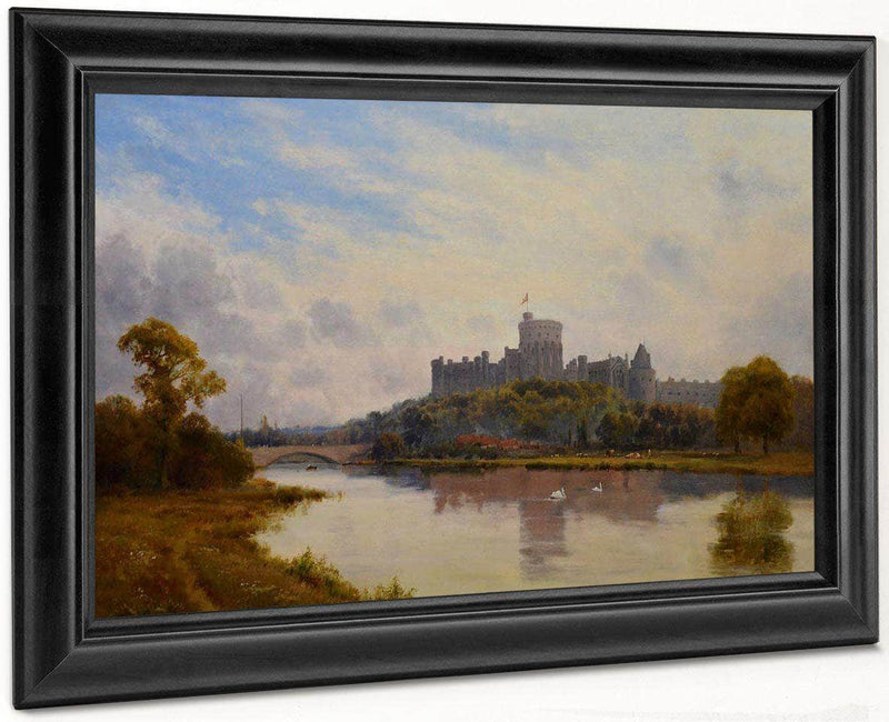 Windsor Castle From The Thames 19Th Century English Victorian Landscape By Alfred De Breanski
