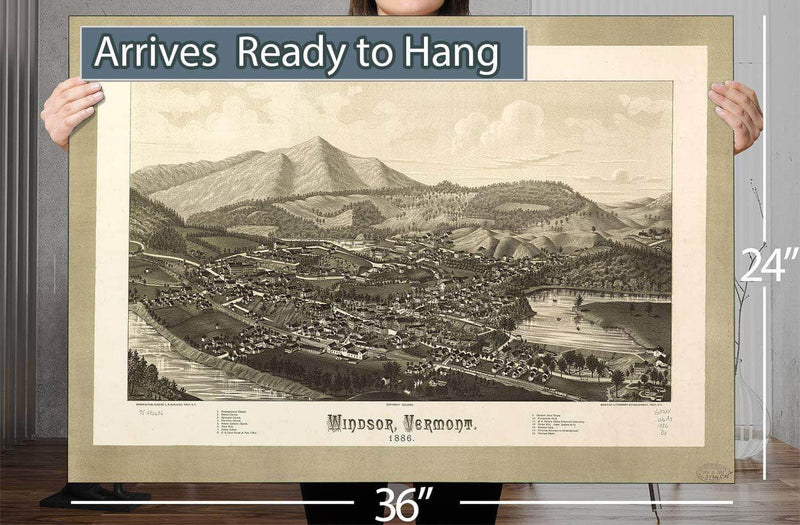 Windsor Vermont 1886 Vintage Map
