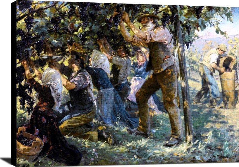 Wine Harvest In The Tyrol Painting Peder Severin Kryer Canvas Art