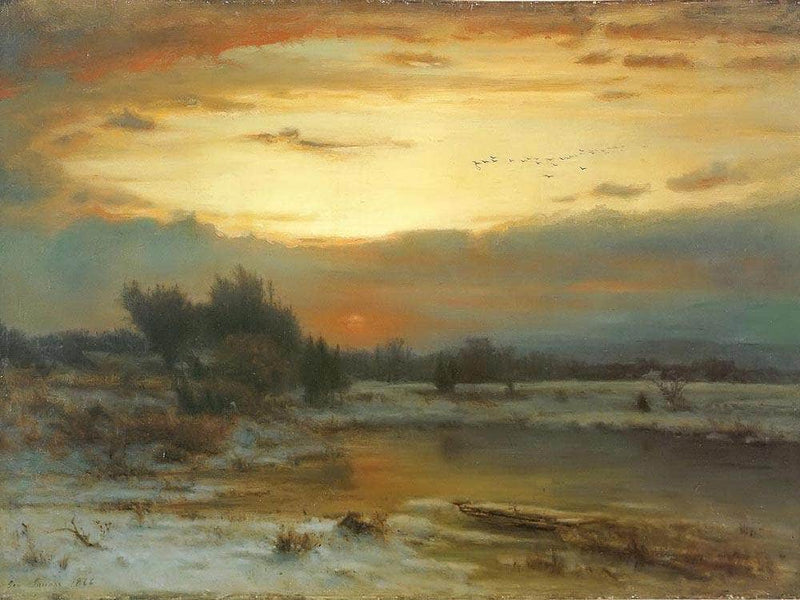 Winter Close Of Day A Winter Sky By George Inness