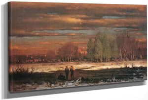 Winter Evening Medfield By George Inness
