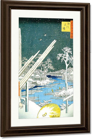 Winter View Of A Timber Yard By A River By Hiroshige