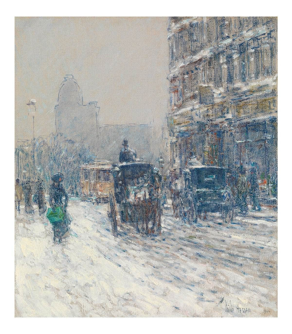 Winter, New York (Winter Morning On Broadway) By Childe Hassam Canvas Print from Truly Art