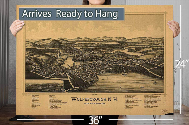 Wolfeborough Nh Lake Winnipesaukee Vintage Map