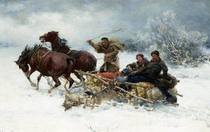 Wolves Attacking The Sleigh Painting Alfred Kowalski Canvas Art
