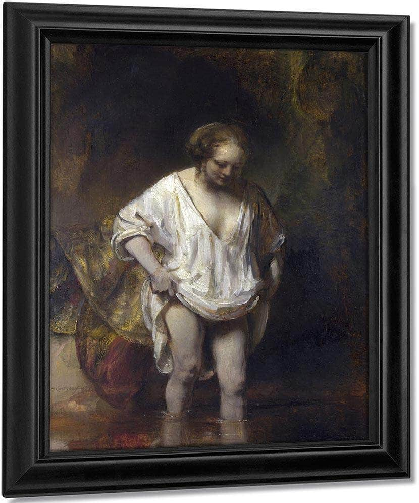 Woman Bathing In A Stream By Rembrandt