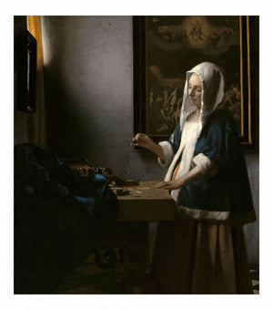 Woman Holding A Balance 1663 by Johannes Vermeer Wall Art from Truly Art