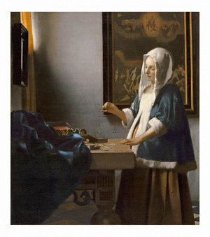Woman Holding A Balance by Johannes Vermeer Wall Art from Truly Art