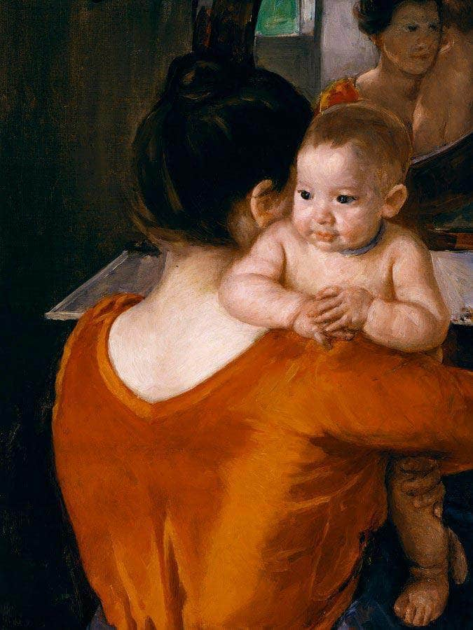 Woman In A Red Bodice And Her Child By Cassatt Mary