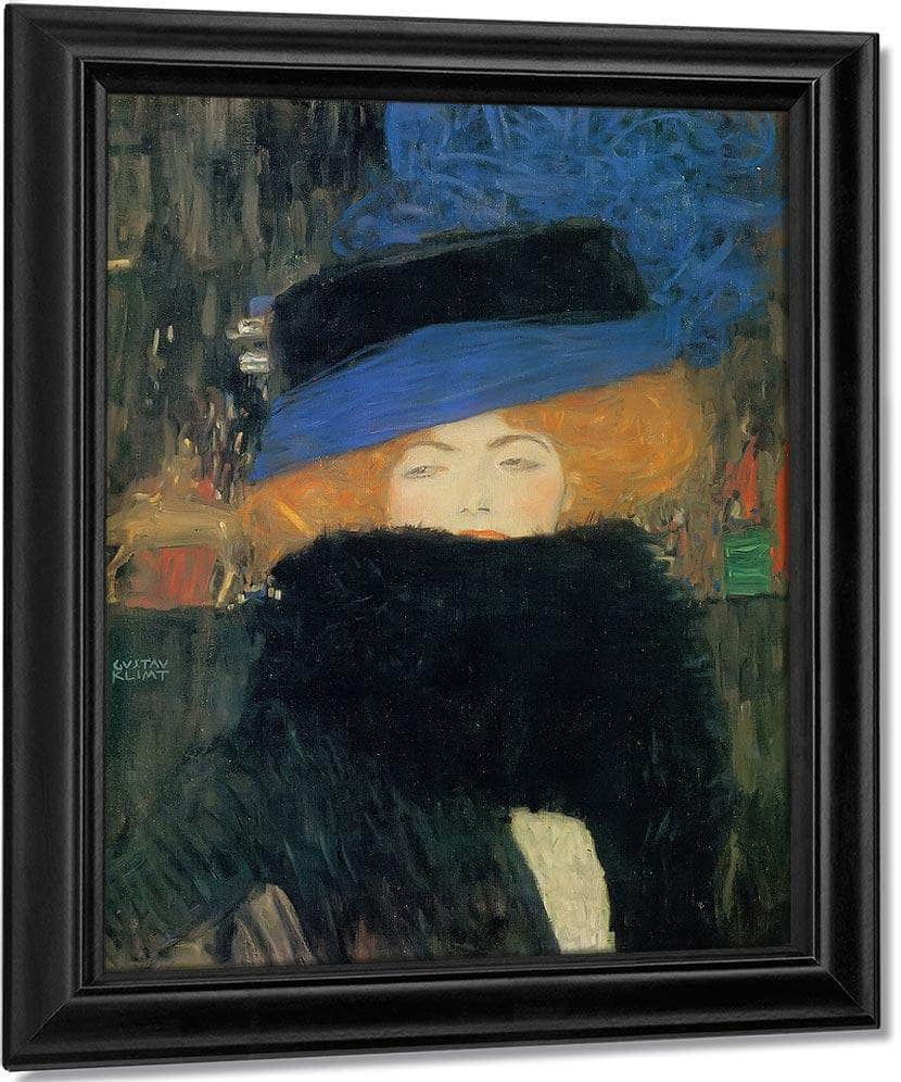 Woman In Hat With Feather Boa By Gustav Klimt