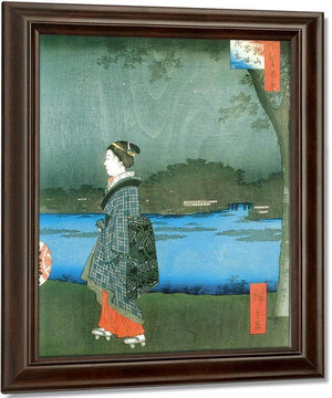 Woman On A River Bank In The Evening By Hiroshige