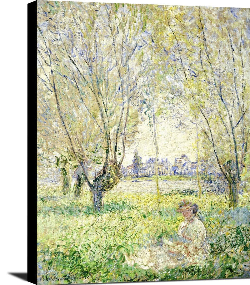 Woman Seated Under The Willows Painting Claude Monet Canvas Art